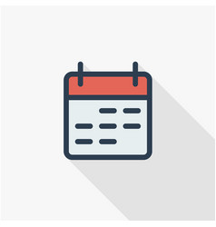 Calendar thin line flat color icon linear vector