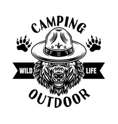 camping emblem or logo with scout bear vector image
