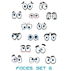 Cartoon blue eyes with different emotions vector