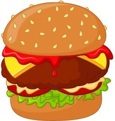 Cartoon burger delicious vector image
