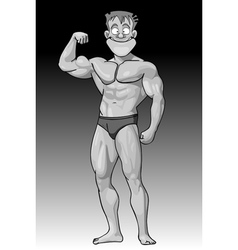 cartoon funny guy beefy bodybuilder vector image