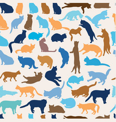 Cats seamless pattern kitten silhouettes pet vector