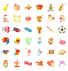 children icons set cartoon style vector image