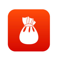 christmas bag of santa claus icon digital red vector image