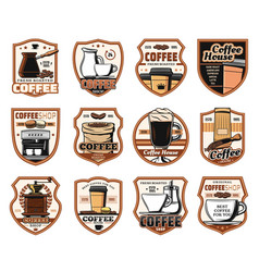 Coffeeshop cafeteria coffee house icons vector