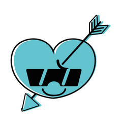 Color happy heart with arrow kawaii and sunglasses vector
