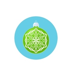 Colorful Icon Green Ball with Snowflake vector image
