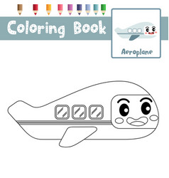 Coloring page aeroplane cartoon character side vector