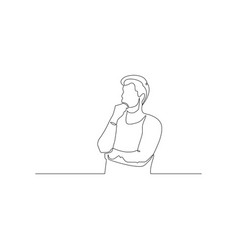 Continuous one line man think about something vector
