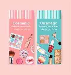 Cosmetic flyer design with eyeshadow lipstick vector