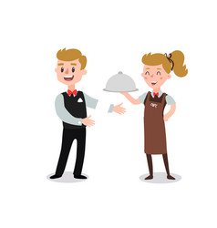 couple waiters wearing uniform holding a vector image
