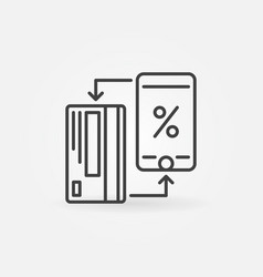 credit card with smartphone icon cashback vector image