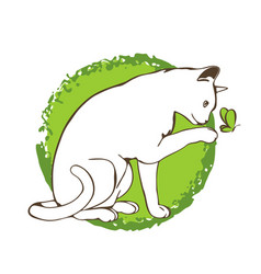 Curious white cat on green background cute vector