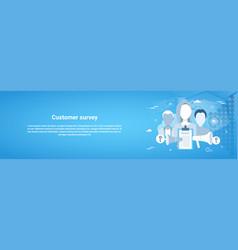 Customer survey web horizontal banner with copy vector