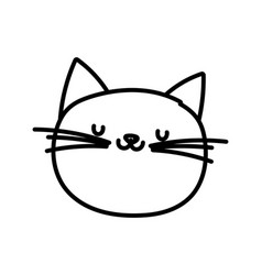 Cute cat face cartoon character on white vector