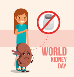 Cute girl and sick kidney prohibited salt campaign vector