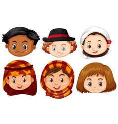 Different faces of children from different vector