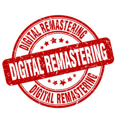Digital remastering red grunge stamp vector