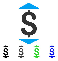 Dollar up down flat icon vector