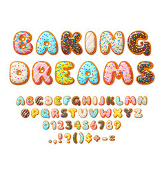 Donut font sweets letters bakery text numbers vector