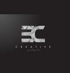 Ec e c letter logo with zebra lines texture vector