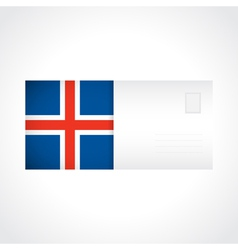 envelope with icelandic flag card vector image