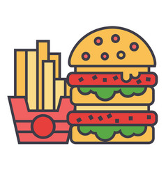 Fast food burger and french fries concept line vector