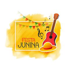 festa junina music guitar and cap background vector image