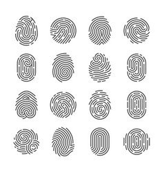 fingerprint detailed icons police scanner thumb vector image