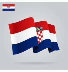 Flat and waving croatian flag vector