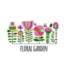 floral garden sketch for your design vector image