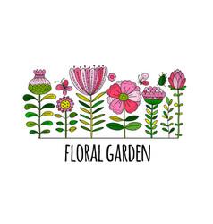floral garden sketch for your design vector image
