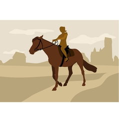 Girl on horseback silhouette vector