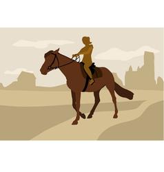 girl on horseback silhouette vector image