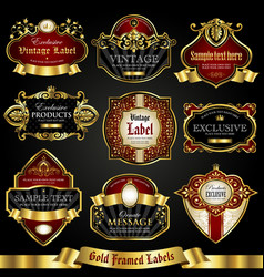 gold-framed colorful labels luxury set vector image