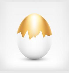 Golden egg in white shell vector