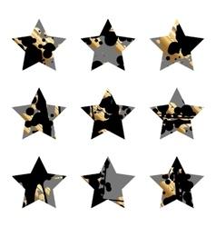 Grunge black and goldstar vector
