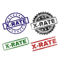 Grunge textured x-rate stamp seals vector