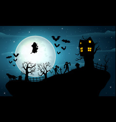 halloween night celebration on the hill vector image