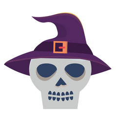 Halloween skull head with witch hat vector