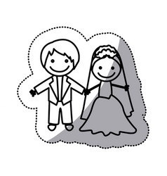 Hand drawn sticker silhouette with married couple vector