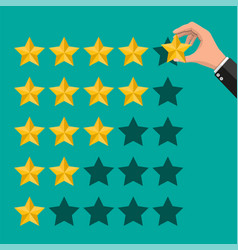 hand puts rating reviews five stars vector image