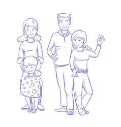 Happy family with young children hand drawn vector