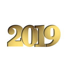 happy new year card gold 3d number 2019 isolated vector image