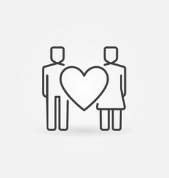 heart with man and woman line icon family vector image