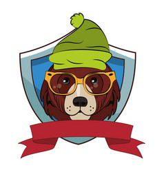 hipster bear cool sketch vector image