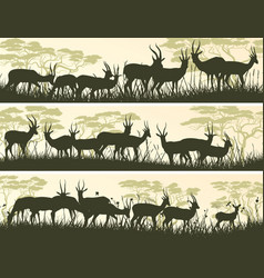 Horizontal banners of wild antelope in african vector