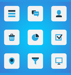 interface icons colored set with user task vector image