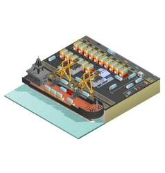 Isometric Marine Cargo Transportation vector image