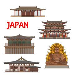japanese temples shrines pagodas in nara japan vector image